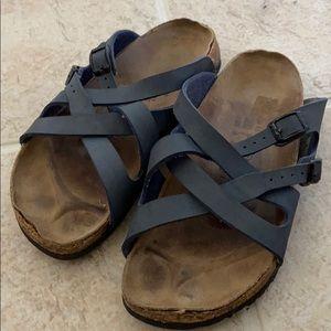 Navy strap Birkenstock sandals